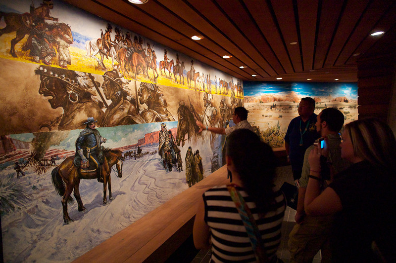 Part of a mural that surrounds the hogan, detailing the history of the Navajo people