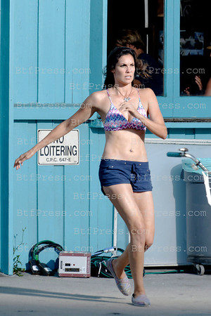 Daniela Ruah during the set of the TV Show NCIS LOS ANGELES in Venice California.