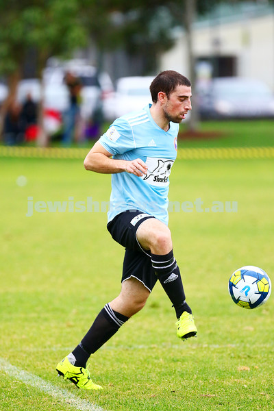 8-5-16. North Caulfield Maccabi Football Club (NCMFC) 4 def Penninsula Strikers 1. Caulfield Park. Tal Marom. Photo: Peter Haskin