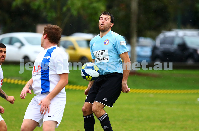 8-5-16. North Caulfield Maccabi Football Club (NCMFC) 4 def Penninsula Strikers 1. Caulfield Park. Taking one for the team. Photo: Peter Haskin