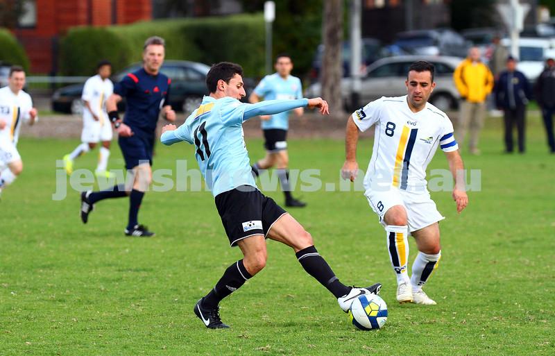 26-4-15. North Caulfield Maccabi Football Club lost to Peninsula Strikers 3 - 4 at Caulfield Park. Photo: Peter Haskin