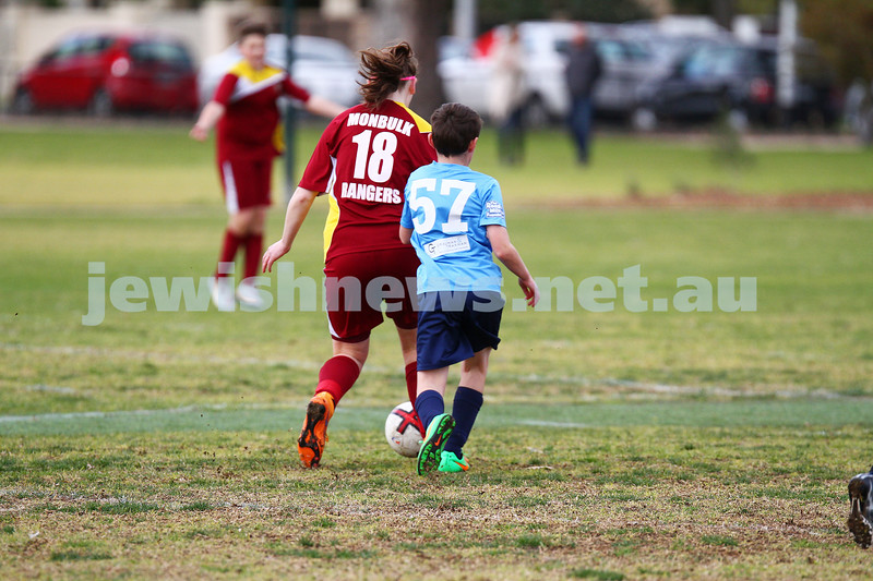 26-7-15. NCMJFC  U13 Blue  lost to Monbulk Rangers FC  2 - 7 at Caulfield Park. Photo: Peter Haskin