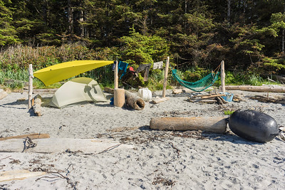 A perfect beach campsite includes clean, flat sand and well-positioned driftwood. Nels Bight has those qualities, and more, in abundance. Flotsam and jetsam is always present on our Vancouver Island coastlines.