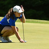 Emily Nash of Lunenburg lines up her putt for the 2018 NCW Sectional Tournament held at Townsend Ridge Country Club on Monday.  SENTINEL & ENTEPRISE JEFF PORTER