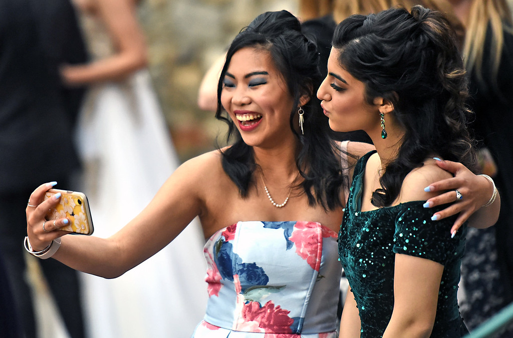 . Teagan McCaffrey 17  of Hollis NH(Queen of the Selfies) takes a selfie of herself and friend Jasmin Sabah 16 of Hudson NH. At the NDA Prom SUN/David H. Brow