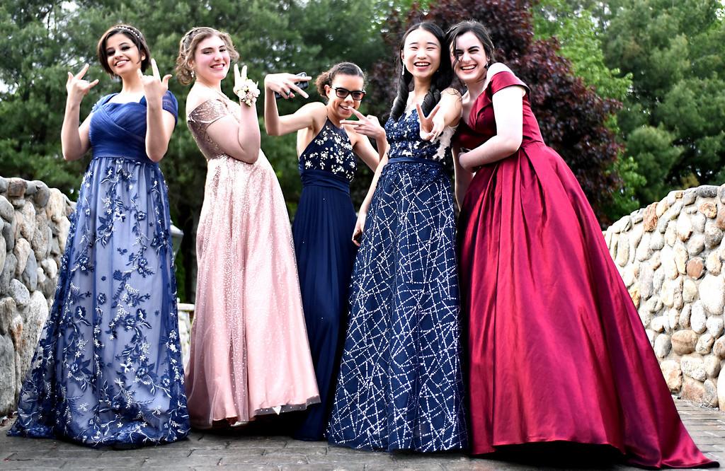. Striking a pose are earlier arrivals to the NDA Prom at the Tewksbury CC., L-R, Jenna Ebedd 16, Lana Sukkar 17, Olivia Gavlak 17, Aurelta Yan 16 and Nora Leach 17. SUN/David H. Brow