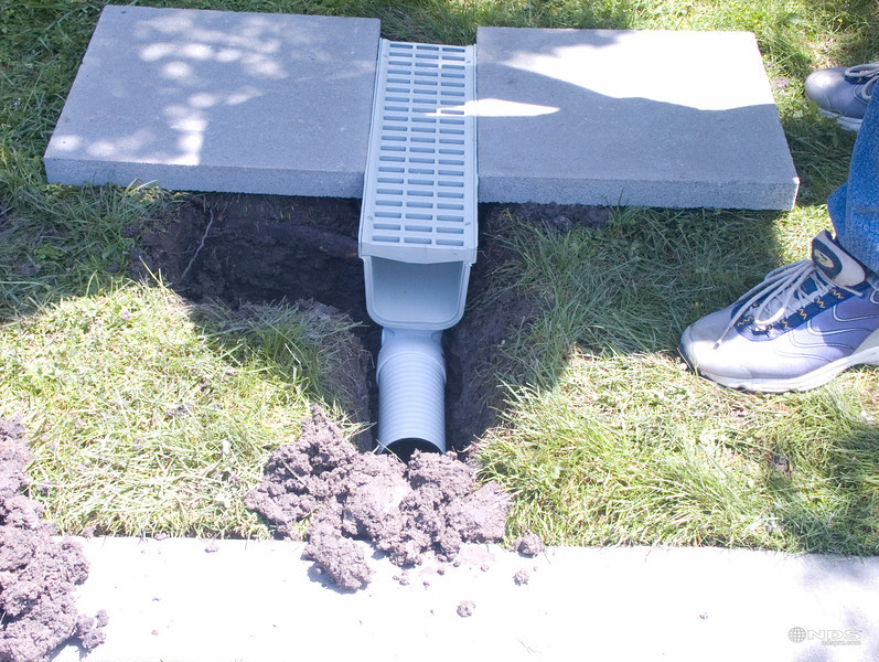 "5"" Pro Series Channel Drain - In Use"