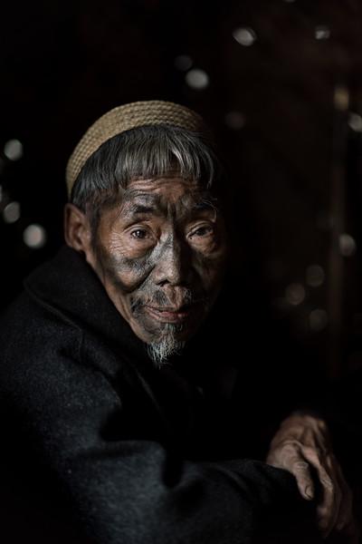 Tattooed Konyak elder