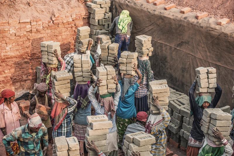 Stacking of bricks