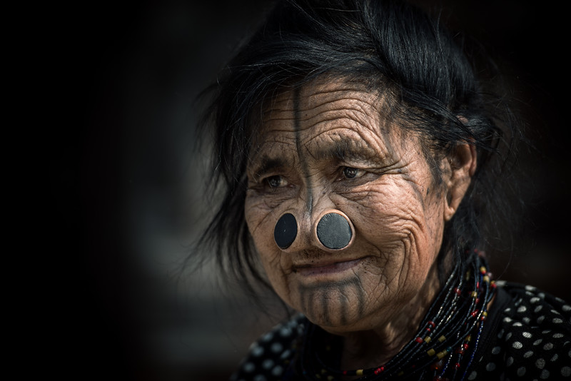 Nose plugged Apatani woman