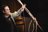 KELLY FLETCHER, REFORMER CORRESPONDENT -- Keith Nelson, a juggler, fire eater and teacher from NYC co-hosted NECCA's Circus Spectacular fundraising show Friday night at the Latchis Theater.  Here, he demonstrates his top-spinning expertise in between acts.
