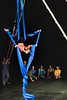 KELLY FLETCHER, REFORMER CORRESPONDENT --a member of the advanced youth performance troupe demonstrates her aerial skills on the fabric in the opening of  NECCA's 10th annual Circus Spectacular fundraising show at Latchis Theater Friday night.
