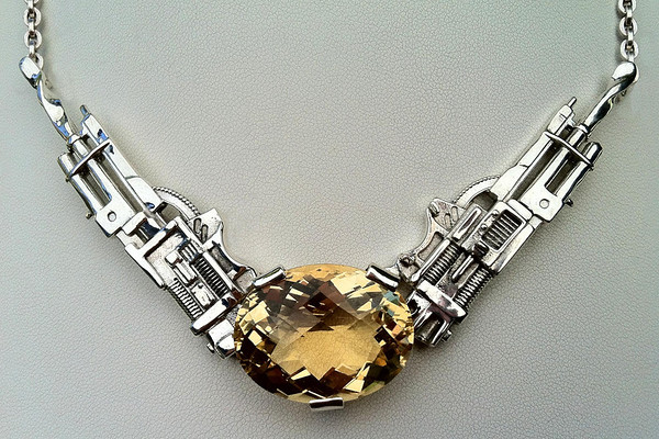 TECHNO #1 - STERLING SILVER - CITRINE. THIS PIECE WAS WORN BY OUR CUSTOMER DURING AN INTERVIEW ON NBC NIGHTLY NEWS WITH BRIAN WILLIAMS IN 2013