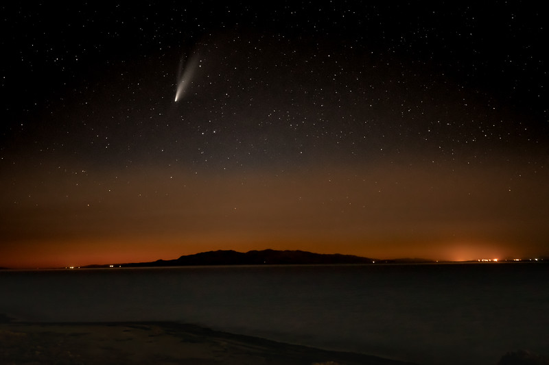Neowise  as viewed from Antelope Island over the Great Salt Lake