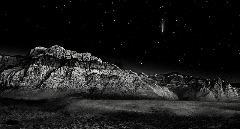 Rays of Neowise descending on Red Rock Canyon