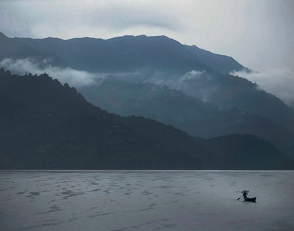 Canoe in rain, Pokhara