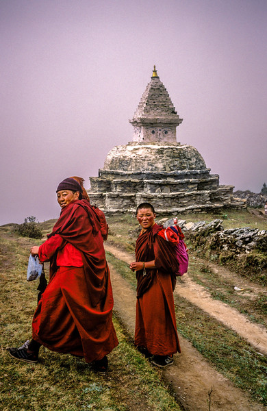 Monks and Stupa, Khumbu