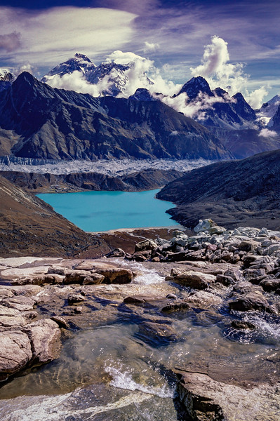 Everest View above Goyko Lakes from Renjo La pass
