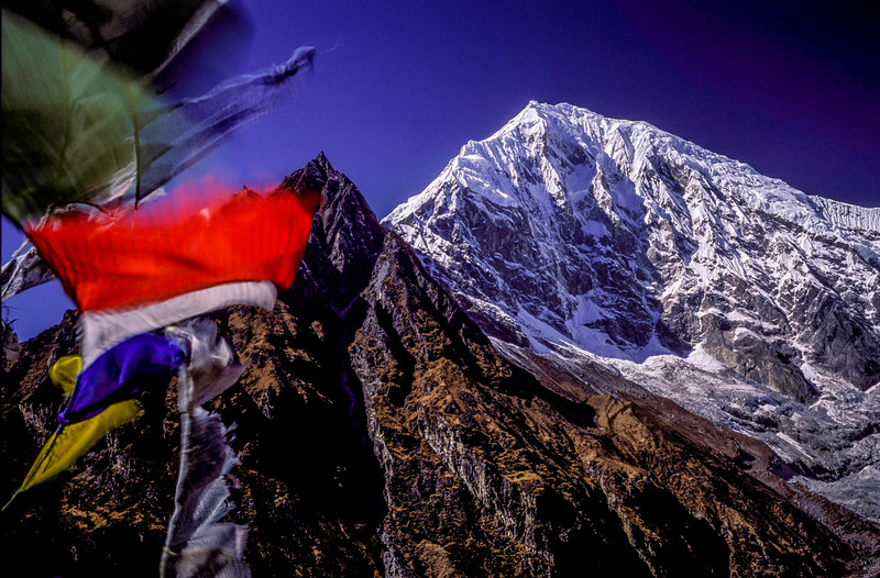 Langtang Peak and prayer flags