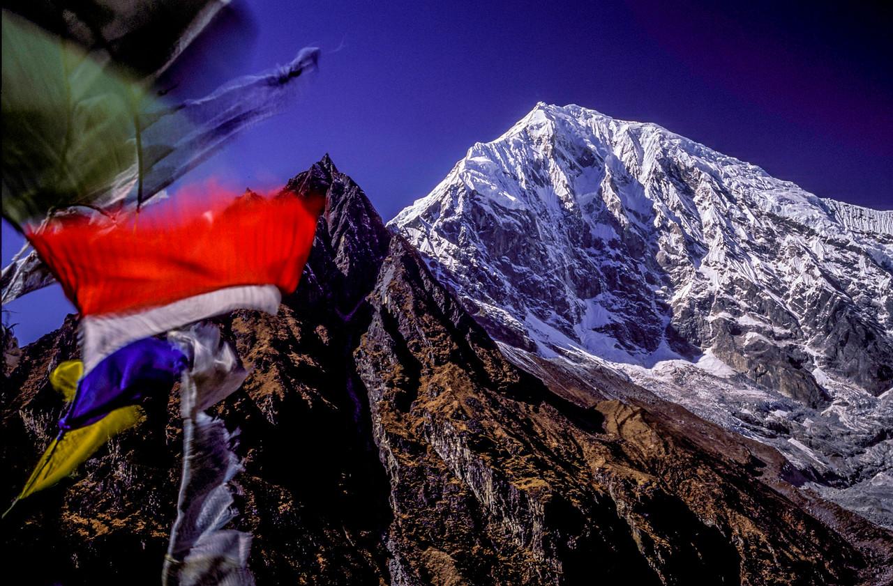 Langtang Peak and prayer flags