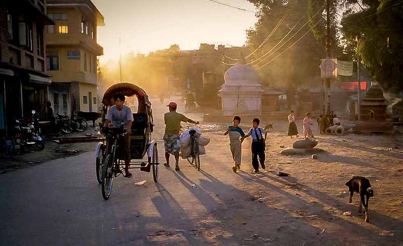 Street in evening, Kathmandu