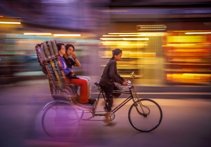 Rickshaw at night, Kathmandu