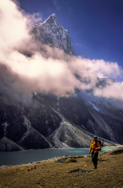 Trekker and Peak, Khumbu