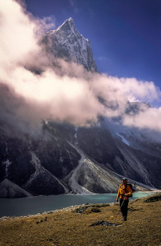 Trekker and Peak, Khumbu