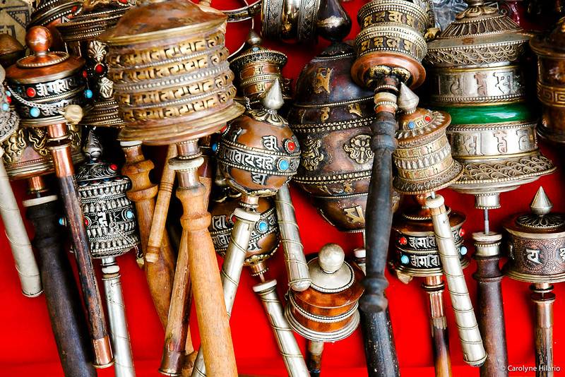 Handheld Prayer Wheels<br /> Stupa at Boudhanath<br /> Kathmandu Valley