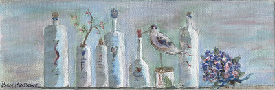 Spa Bottles with Branch, Bird and Hydrangea
