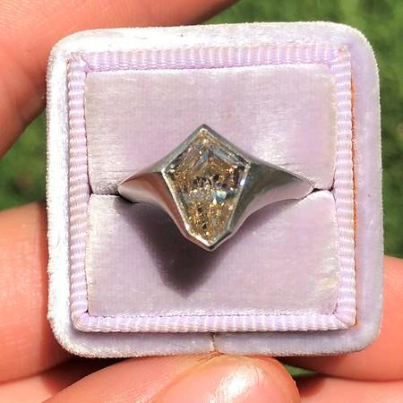 1.62ct Champagne Shield Shape Diamond RIng