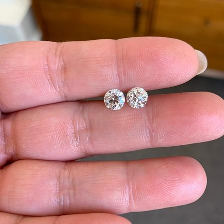 2.03ctw Old European Cut Diamond Pair