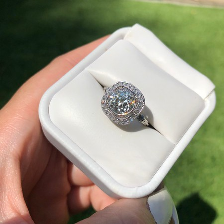 2.96ctw Antique Cushion Cut Diamond Halo Ring