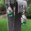 Old European Cut Diamond and Emerald Art Deco Conversion Earrings