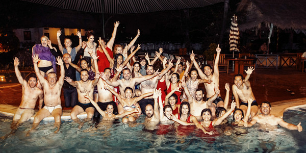 The reception ended with me daring everyone to jump in the pool clothed. As you can see they were up to that challenge.