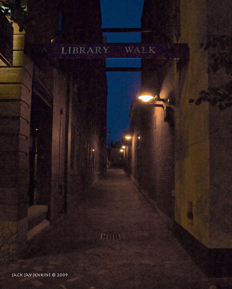 Alley leading from Main Street back toward the Nashua Library