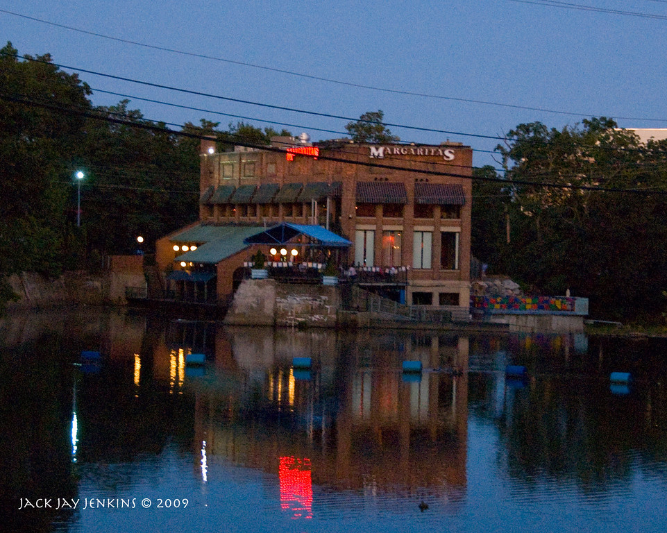 Looking east on the Nashua River toward the old hydroelectric plant - now Maragaritas resturant