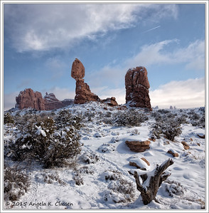 Lifting fog over Balanced Rock, Arches National Park, Utah