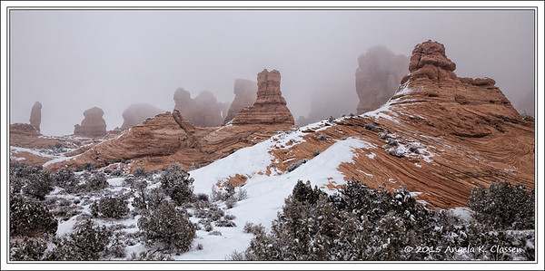 Monoliths in the fog, Arches National Park, Utah