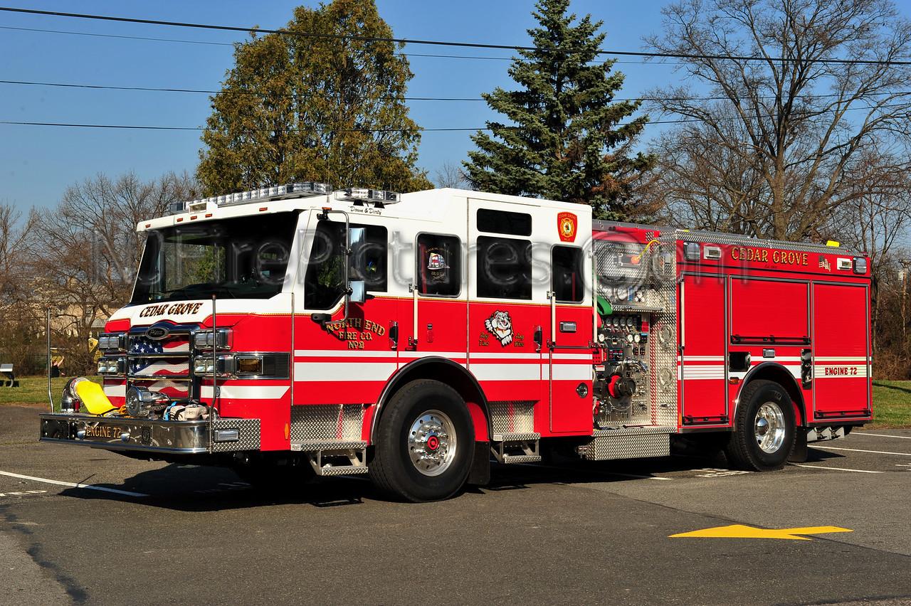 CEDAR GROVE (NORTH END FIRE CO. 2) ENGINE 72 - 2011 PIERCE VELOCITY 2000/500/30A/50B