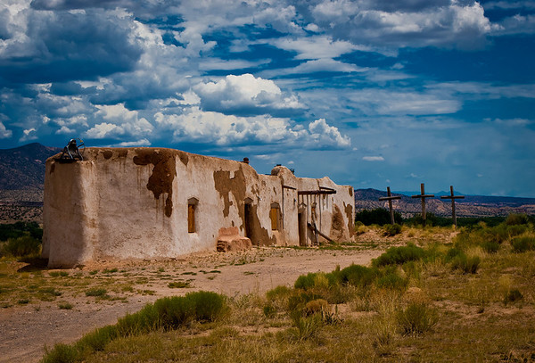 "''Vida las Cruces' Church of  the Penitentes Abiquiu, NM    12""x16"", Luster paper limited edition of 100"