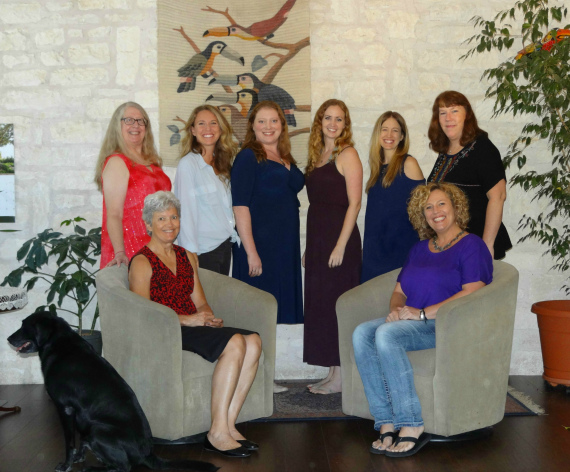 Our great office staff: seated, Peggy Watson (l.) and Sharon Mackie; standing, from left, Peg Wallace, Mandy Mantzel, Tiara Westcott, Ruth Kuhl, Caroline Lewis, and Karen Turner.