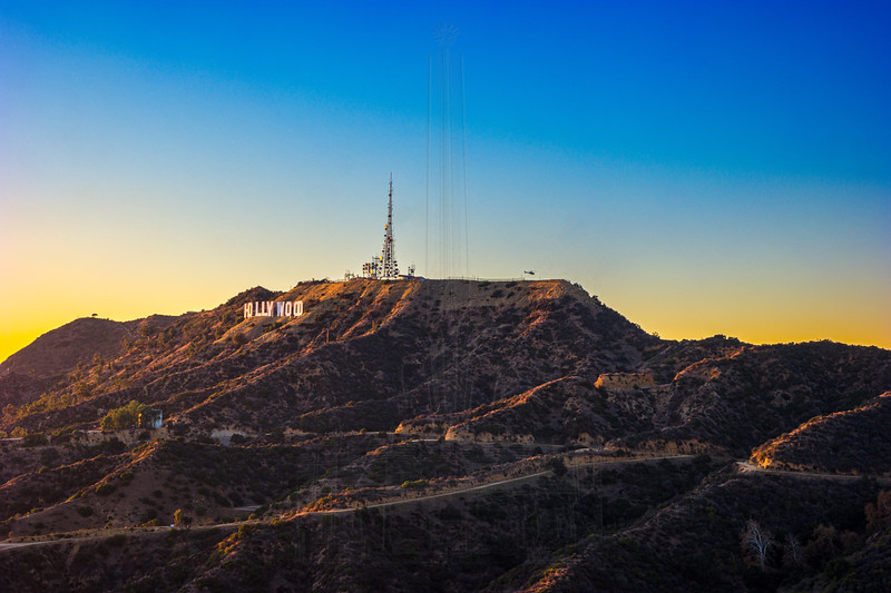 Just prior to sunset a helicopter landed on Mt. Lee, so I swung my camera around to capture it landing.