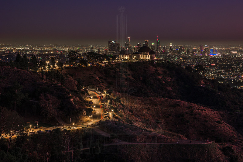 End of blue hour, this shot is composed of 5 shots, mainly get get additional traffic trails along the road up to the Observatory.  This was shot at the Tiffany overlook as you can see the Observatory dome obscuring some of the buildings in downtown LA.