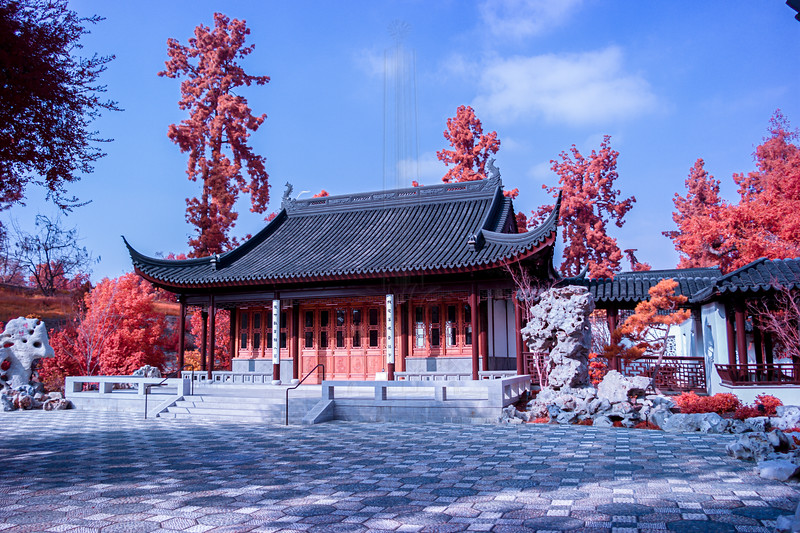 The Court of the Worthies in Aerochrome, notice the grass to the left of the building are a light shade of orange.
