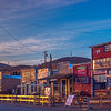 Street scene at sunrise.