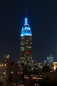 The Empire State Building in blue...