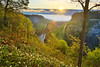 SUNRISE, GREAT BEND OVERLOOK AREA. GENESEE RIVER, GORGE TRAIL, LETCHWORTH STATE PARK, CASTILE, NEW YORK, USA