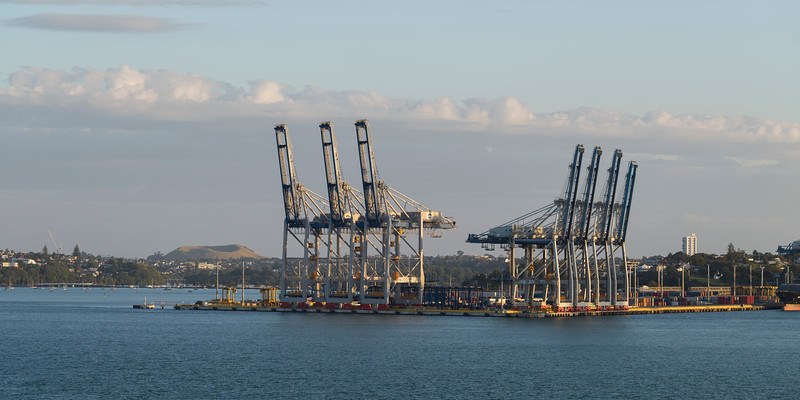 Cranes at commercial dock, Auckland, North Island, New Zealand