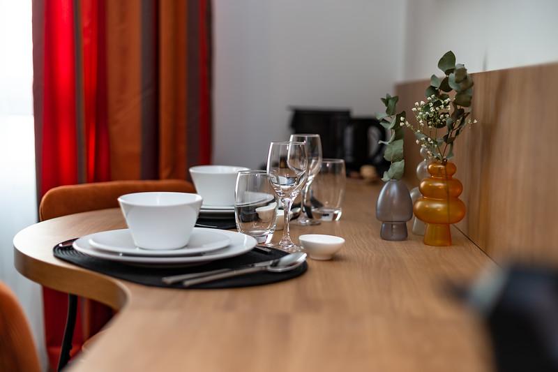 Modern interior of a small hotel room. Designer furniture. Minimalism.